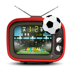 Football Team on Stadium on Retro Red Television with Ball. Soccer Match ot TV Vector Illustration.