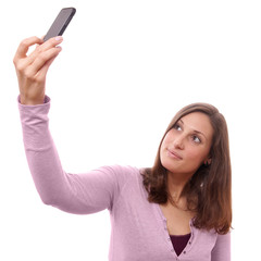 young woman taking a selfportrait with her smart phone