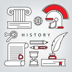 History icons. Linear concept.