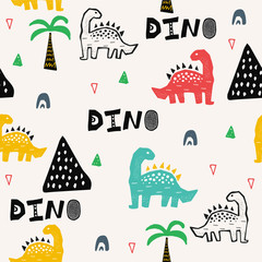Pattern with dino, dinosaur in tropical forest in scandinavian style. Abstract kid draving for nursery,textile,wrapping or poster.