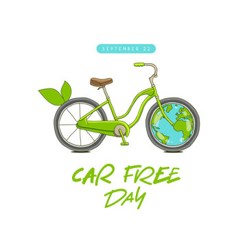 Car free day concept. Sepember 22. Bicycle and Earth.