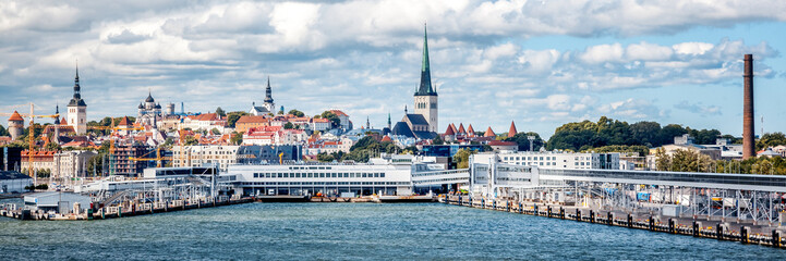 Wall Mural - Beautiful cityscape, Tallinn, the capital of Estonia, view of the city from the sea, travel to the Baltic states and Scandinavian countries