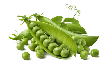 Green peas pods group isolated on white background