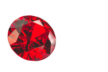 Wall Mural - red ruby diamonds on the white background .with clipping path