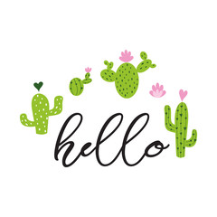Text Hello Hand drawn cute cactus heart Love Cacti, Cute greeting card template banner label logo sign