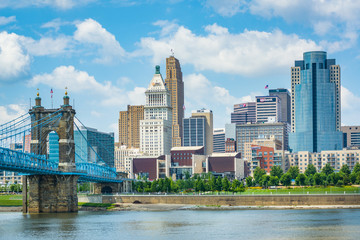 The Cincinnati skyline and Ohio River, seen from Covington, Kentucky. Wall mural