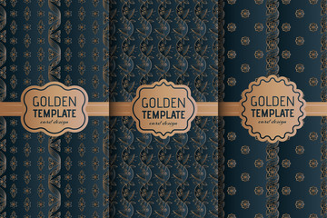 Set of golden luxury templates. Abstract geometric background with flowers. Vector illustration.