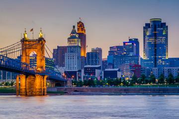 The Cincinnati skyline and Ohio River at night, seen from Covington, Kentucky,