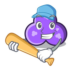 Playing baseball trefoil character cartoon style