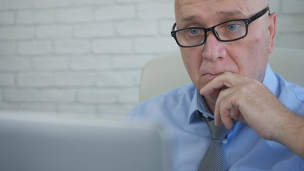 Astonished Businessman Reading Financial Documents