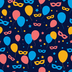 festive seamless background with balloons, masks and confetti.