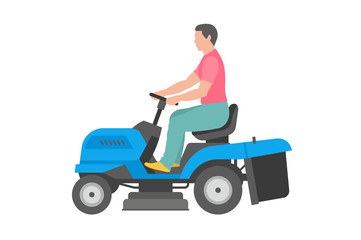 Man with blue lawnmower. flat style. isolated on white background