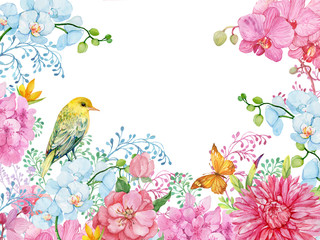 Floral background ,birds and flowers .watercolor.