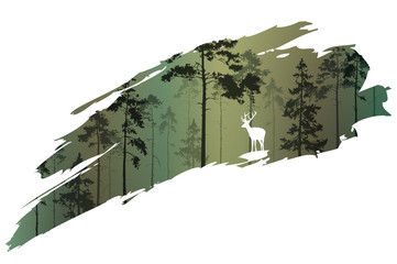 Wall Mural - a fragment of the background with a forest and a deer for your design. Vector illustration