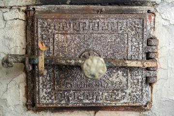 Rusted chimney damper closeup
