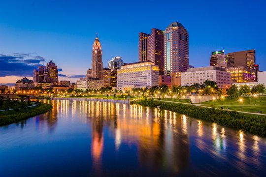 The Scioto River and Columbus skyline at night, in Columbus, Ohio.