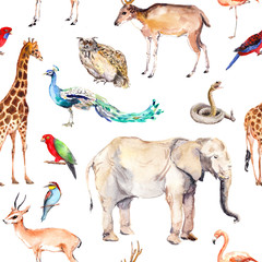 Wild animals and birds - zoo, wildlife - elephant, giraffe, deer, owl, parrot, other . Seamless pattern. Watercolor