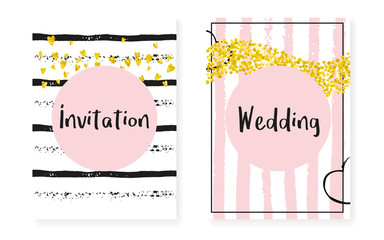 Gold glitter sequins with dots. Wedding and bridal shower invitation cards set with confetti. Vertical stripes background. Vintage gold glitter sequins for party, event, save the date flyer.