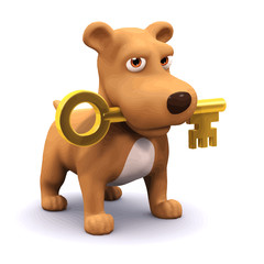 Vector 3d Puppy and key