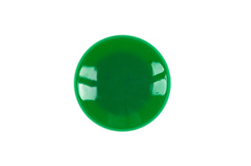 green button on white isolated background