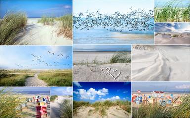 Wall Mural - Urlaubs-Collage: Friesland, Nordsee, Strand auf Langenoog: Dünen, Meer, Entspannung, Ruhe, Glück, Freude, Erholung, Ferien, Urlaub, Meditation :)