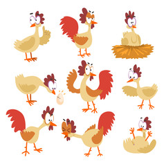 Funny hen set, comic cartoon bird characters in different poses and emotions vector Illustrations on a white background.