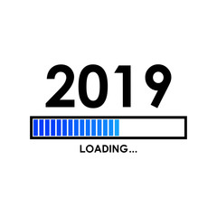Icono plano LOADING 2019 con barra degradado en color azul