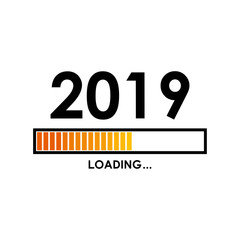 Icono plano LOADING 2019 con barra degradado en color naranja