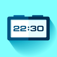 Digital Clock icon in flat style, timer on blue background. 22:30. Simple watch. Vector design element for you business projects