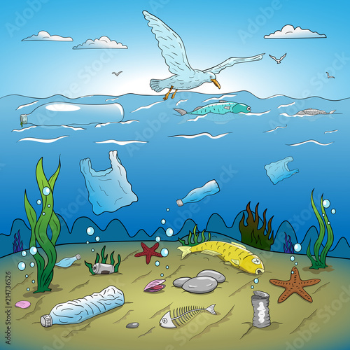 """""""Water plastic pollution vector illustration. Hand drawing ..."""