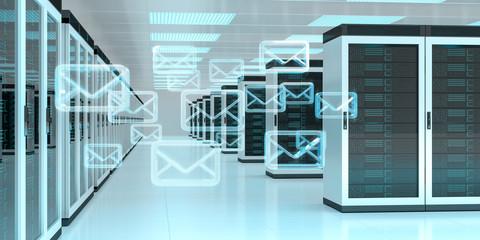 Emails exchange over server room data center 3D rendering