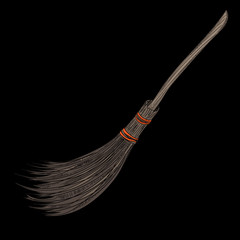 Realistic broomstick on black background. Halloween card.