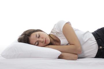 beautiful young girl sleeping tight
