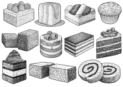 Cake collection illustration, drawing, engraving, ink, line art, vector