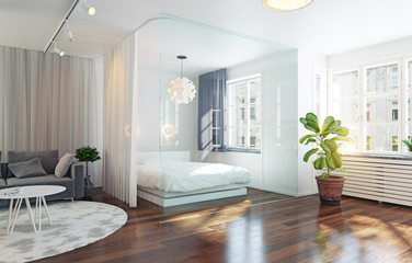Glass wall bed zone in the  interior.
