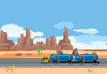 Fuel tanker truck driving in the desert oil industry theme, vector concept industrial illustration