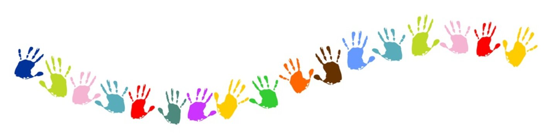 Linie, Welle aus bunten Handabdrücken