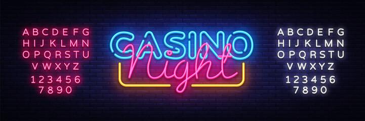 Casino Night Neon sign vector design template. Casino neon logo, light banner design element colorful modern design trend, night bright advertising, bright sign. Vector. Editing text neon sign