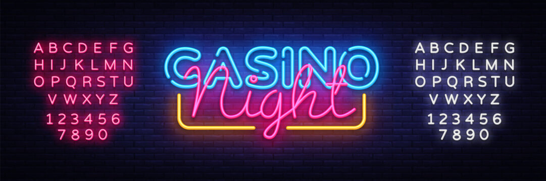 Casino Night Neon sign vector design template. Casino neon logo, light banner design element colorful modern design trend, night bright advertising, bright sign. Vector. Editing text neon sign