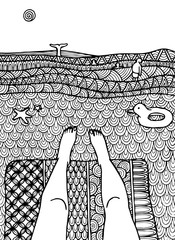Decorative sea zentangle landscape with dolphin. Decorative ornamental pattern for greeting cards, coloring books for adult, print.