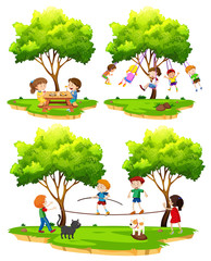 A set of children playing in nature
