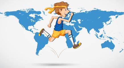 A man running on world map