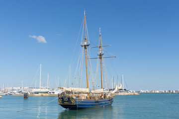 Old sailing ship boat in harbor