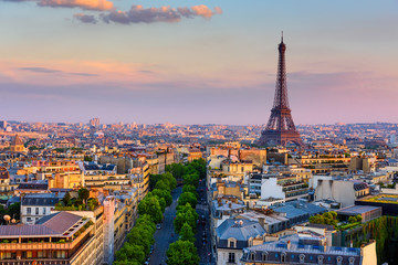 Fototapeta Skyline of Paris with Eiffel Tower in Paris, France. Panoramic sunset view of Paris