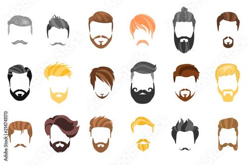 Hair Beard And Face Hair Mask Cutout Cartoon Flat Collection