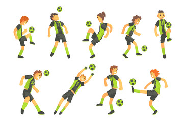 Football Players Of One Team With Ball Isolated Illustration Set