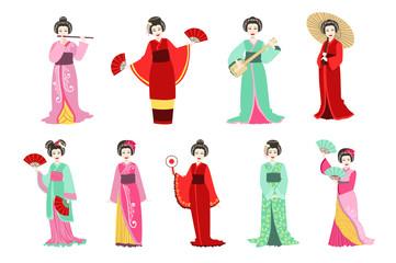 Japanese Geisha In Different Kimono Set