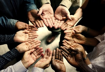 Group of diverse hands in a circle Wall mural
