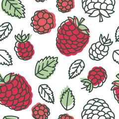 Raspberry seamless pattern. Hand drawn fresh berry. Vector sketch background. Doodle wallpaper. Red and green print