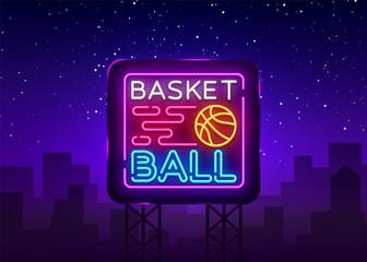 Basketball Night Neon Logo Vector. Basketball neon sign, design template, modern trend design, sports neon signboard, night bright advertising, light banner, light art. Vector illustration. Billboard